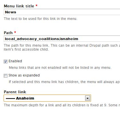 example add menu link