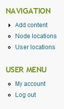 nav and user menus